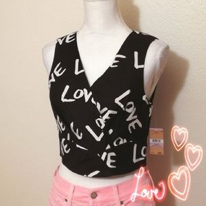 "💗Rachel Roy Flirty ""Love"" Cropped Top w Zip Back"